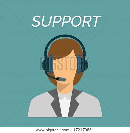 Call center female operator with headset web icon in flat style. Woman working in support, vector