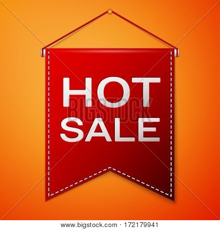 Red pennant with inscription HOT SALE over a orange background. Sale concept for shops store market, web and other commerce. Vector illustration.