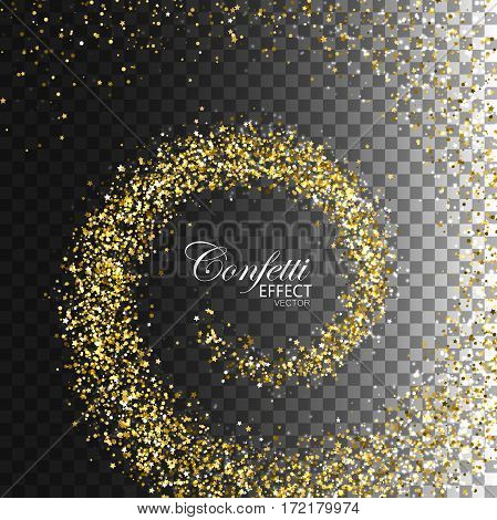 Glowing trail of golden confetti particles, stars and glitters. Glittering swirl trail isolated on transparent checkered background. Spiral stream of star particles. Decoration confetti element for design.