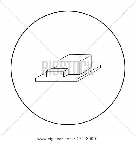 Bar of Butter on cutting board icon in outline style isolated on white background. Milk product and sweet symbol vector illustration.