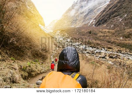 Woman backpacker traveling hiking in mountains Travel Lifestyle success concept adventure active summer vacations outdoor mountaineering sport - Vintage effect style pictures.