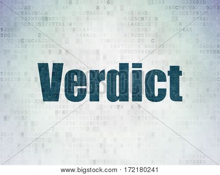 Law concept: Painted blue word Verdict on Digital Data Paper background