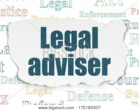 Law concept: Painted blue text Legal Adviser on Torn Paper background with  Tag Cloud