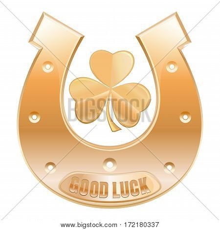 Gold horseshoe and gold trefoil clover. Symbols celebrating St. Patrick's Day. Horseshoe with inscription - Good luck. Vector icon isolated on white