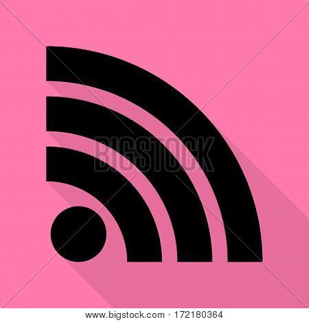RSS sign illustration. Black icon with flat style shadow path on pink background.