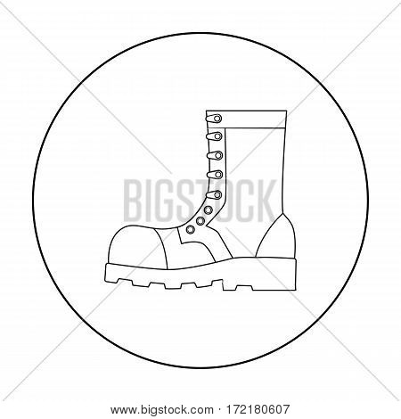 Army combat boots icon in outline style isolated on white background. Military and army symbol vector illustration