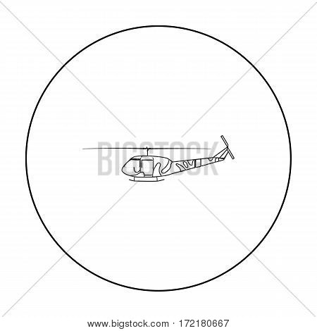 Military helicopter icon in outline style isolated on white background. Military and army symbol vector illustration