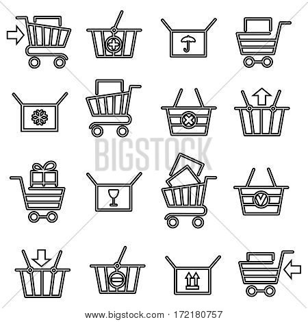 Black thin line shopping cart or store trolley icon set. Vector illustration