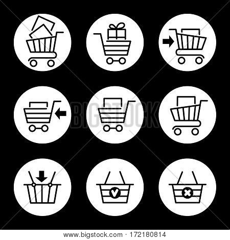 Shopping cart or store trolley line icons isolated on white circles. Vector illustration