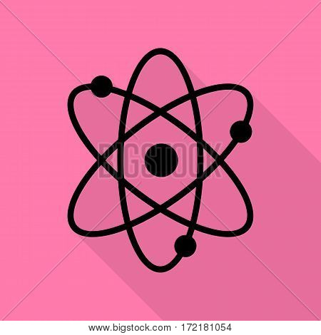Atom sign illustration. Black icon with flat style shadow path on pink background.