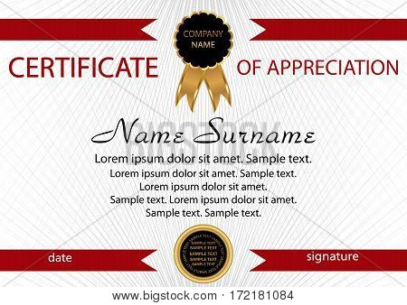 Template certificate of appreciation. Elegant background. Winning the competition. Reward. Vector illustration.