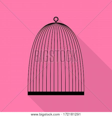 Bird cage sign. Black icon with flat style shadow path on pink background.