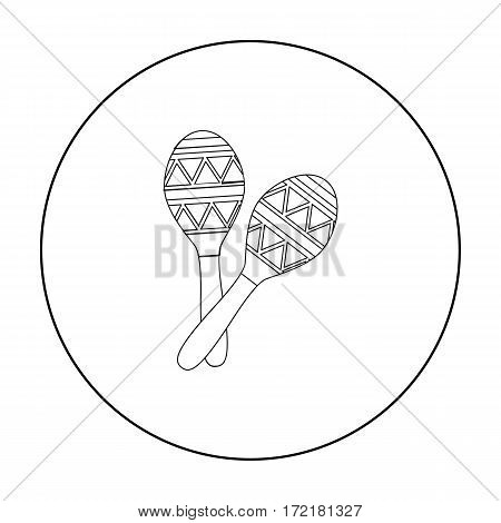 Mexican maracas icon in outline style isolated on white background. Mexico country symbol vector illustration.