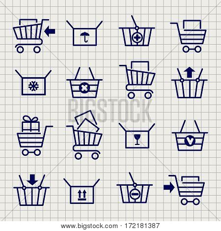 Shopping cart or trolley line icons set on notebook page background. Vecto illustration