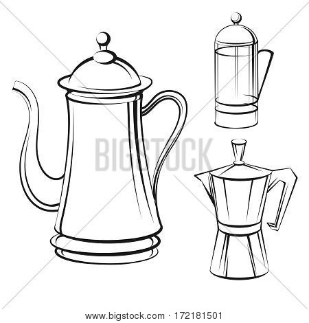 Coffee pot isolated on white background. Coffee pot sketch set vector