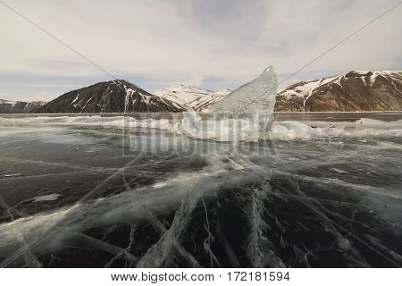 Blocks of ice on the lake Baikal in winter