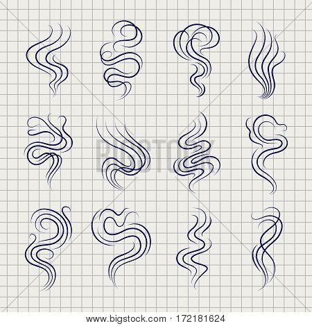 Smoke smell line icons on notebook page. Vector illustration