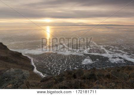 The sun rises on the lake Baikal