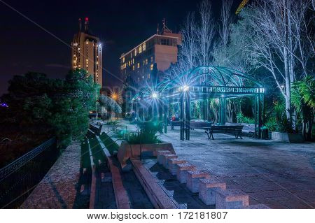 Pergola on Louis Promenade at night Haifa Israel