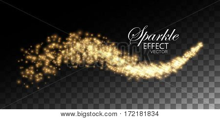 Glowing stream of sparkling stars. Abstract vector illustration of sparkling star stream isolated on checkered transparent background. Light glowing star burst effect for design