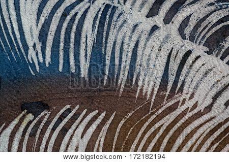 Feather, Hot Batik, Background Texture, Handmade On Silk, Abstract Surrealism Art
