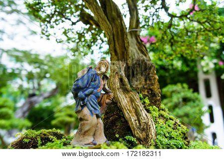 Green Bonsai Tree In Garden. Statue Of A Monk.