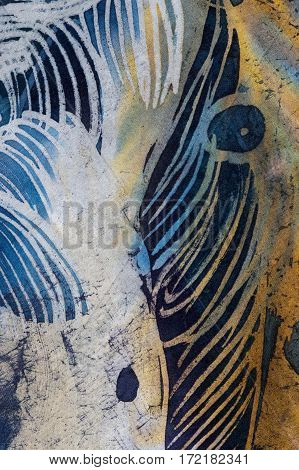 Feathers And Drops, Hot Batik, Background Texture, Handmade On Silk, Abstract Surrealism Art