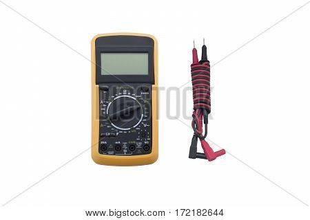 Digital multimeter with wires isolated on white background