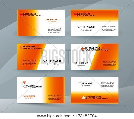 Set Of Simple Pattern Business Card Layout Sided Orange01