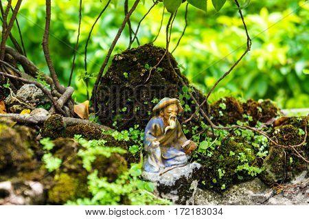 green bonsai tree in garden. statue of a monk. old figurine