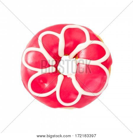 Donut With Red Icing And White Color Flower.