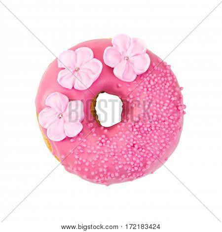 Strawberry Donut With Pink Glaze, Decorative Sprinkles And Flowers