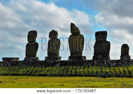 Long shot of the Moai at Ahu Tahai in Hanga Roa in Rapa Nui Easter Island Chile South America