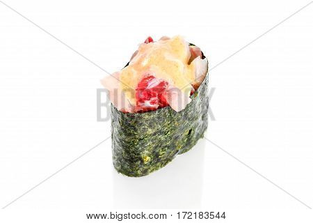 Gunkan Sushi with snapper and spicy sauce on a white background