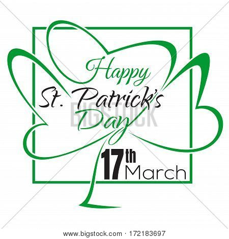 Happy St. Patrick's Day. Typographic design. Vector vintage card with lettering. Happy St. Patrick's Day lettering card. Happy Patrick Day vintage lettering background art. Vector illustration