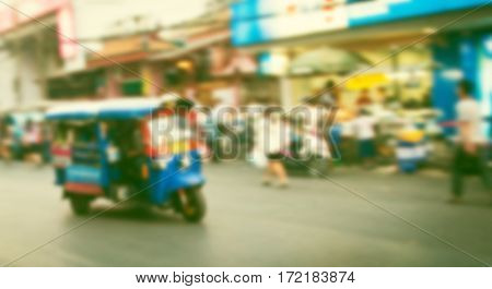 blurred image of Tuk Tuk - transportation in Bangkok