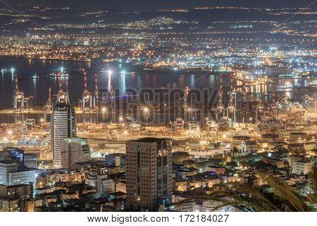 View of downtown Haifa Haifa harbor and bay at night. View from Mount Carmel