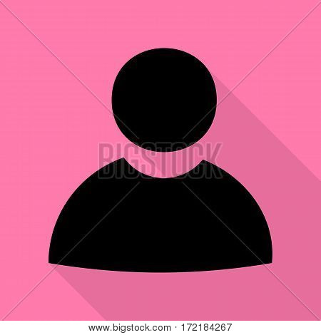 User sign illustration. Black icon with flat style shadow path on pink background.