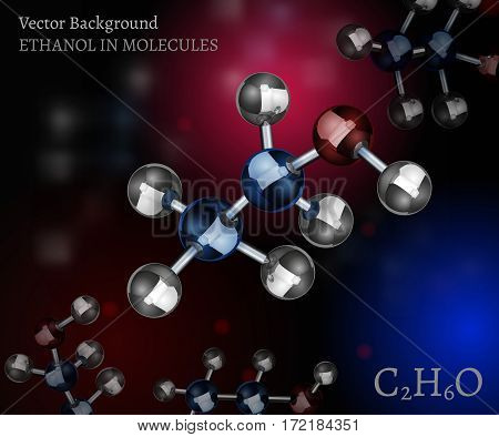 Scientific background with metallic ethanol molecules in volumetric style. C2H6O vector illustration on a dark black, red and blue backdrop. Medical, educational and popular-scientific concept.