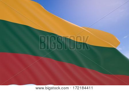 3D Rendering Of Lithuania Flag Waving On Blue Sky Background