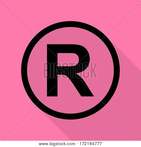 Registered Trademark sign. Black icon with flat style shadow path on pink background.