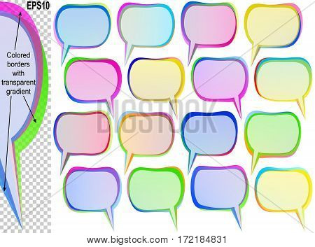 Speech bubbles with copy space; Banners from text balloons with transparent overlapping colored borders; Vector set icon of rectangle frames Eps10