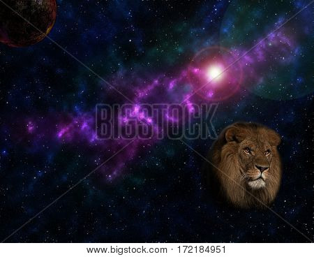 The star sky with a lion in the foreground a fantastic galaxy