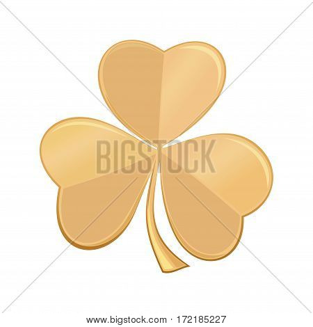 Golden icon three-sheeted, trifoliate, shamrock, trefoil clover, isolated on white background.