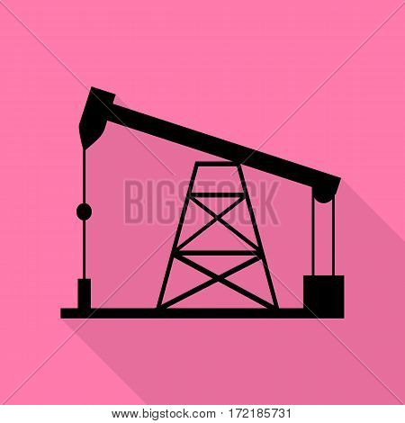 Oil drilling rig sign. Black icon with flat style shadow path on pink background.