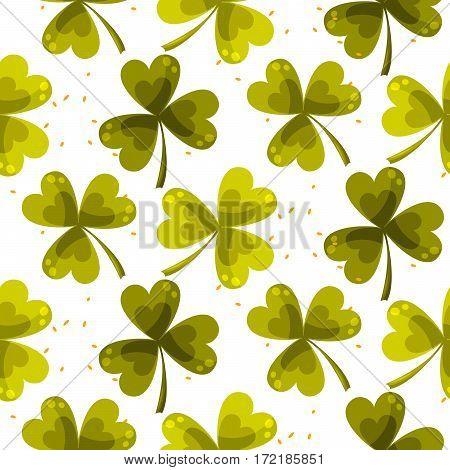 Clover trefoil leaf seamless vector pattern. St. Patrcks day green plant background.