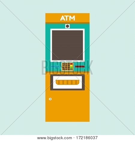 Outdoor ATM machine. Flat style vector illustration