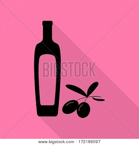 Black olives branch with olive oil bottle sign. Black icon with flat style shadow path on pink background.