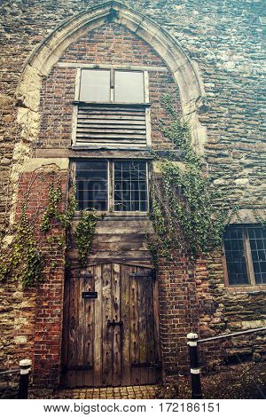 Old door in historic English town of Rye, East Sussex
