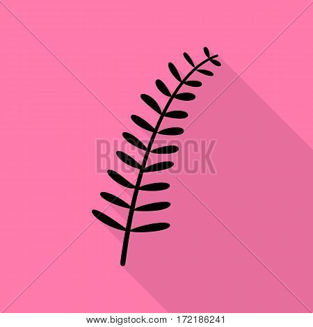 Olive twig sign. Black icon with flat style shadow path on pink background.